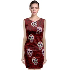 Funny Skull Rosebed Sleeveless Velvet Midi Dress