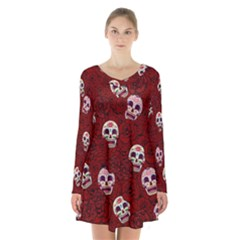 Funny Skull Rosebed Long Sleeve Velvet V-neck Dress