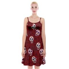 Funny Skull Rosebed Spaghetti Strap Velvet Dress