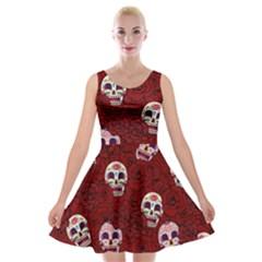 Funny Skull Rosebed Velvet Skater Dress