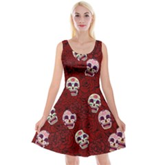Funny Skull Rosebed Reversible Velvet Sleeveless Dress