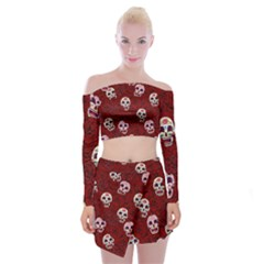 Funny Skull Rosebed Off Shoulder Top With Skirt Set