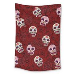 Funny Skull Rosebed Large Tapestry