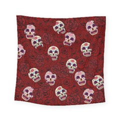 Funny Skull Rosebed Square Tapestry (small)