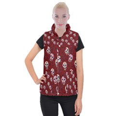 Funny Skull Rosebed Women s Button Up Puffer Vest