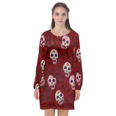 Funny Skull Rosebed Long Sleeve Chiffon Shift Dress