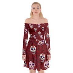 Funny Skull Rosebed Off Shoulder Skater Dress