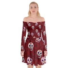 Funny Skull Rosebed Off Shoulder Skater Dress