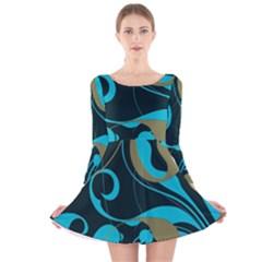 Floral pattern Long Sleeve Velvet Skater Dress