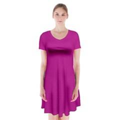 Color Short Sleeve V-neck Flare Dress