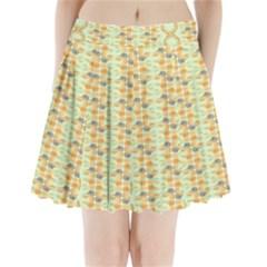 Ethnic Orange Pattern Pleated Mini Skirt