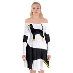 Black And Tan Coonhound Silo Color Off Shoulder Skater Dress