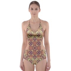Vintage Ornate Baroque Cut-Out One Piece Swimsuit