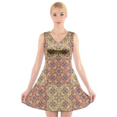 Vintage Ornate Baroque V-Neck Sleeveless Skater Dress