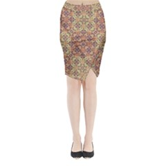 Vintage Ornate Baroque Midi Wrap Pencil Skirt