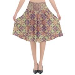 Vintage Ornate Baroque Flared Midi Skirt