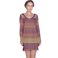 Pattern Long Sleeve Nightdress