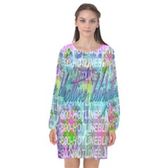 Drake 1 800 Hotline Bling Long Sleeve Chiffon Shift Dress