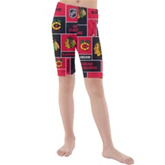Chicago Blackhawks Nhl Block Fleece Fabric Kids  Mid Length Swim Shorts