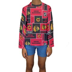 Chicago Blackhawks Nhl Block Fleece Fabric Kids  Long Sleeve Swimwear