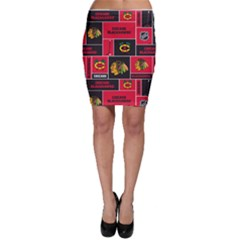 Chicago Blackhawks Nhl Block Fleece Fabric Bodycon Skirt