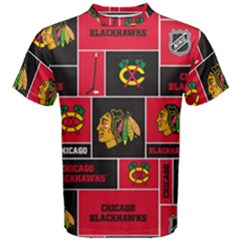 Chicago Blackhawks Nhl Block Fleece Fabric Men s Cotton Tee