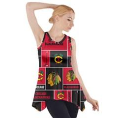 Chicago Blackhawks Nhl Block Fleece Fabric Side Drop Tank Tunic