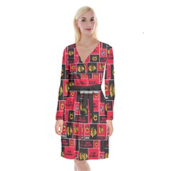 Chicago Blackhawks Nhl Block Fleece Fabric Long Sleeve Velvet Front Wrap Dress