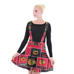 Chicago Blackhawks Nhl Block Fleece Fabric Suspender Skater Skirt