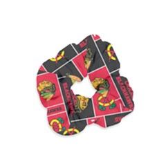 Chicago Blackhawks Nhl Block Fleece Fabric Velvet Scrunchie