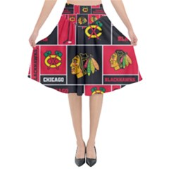 Chicago Blackhawks Nhl Block Fleece Fabric Flared Midi Skirt