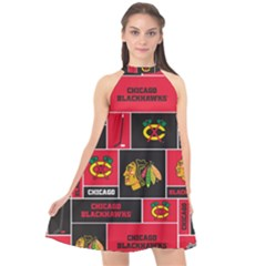 Chicago Blackhawks Nhl Block Fleece Fabric Halter Neckline Chiffon Dress