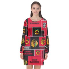 Chicago Blackhawks Nhl Block Fleece Fabric Long Sleeve Chiffon Shift Dress