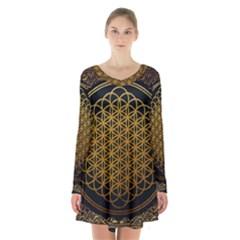 Bring Me The Horizon Cover Album Gold Long Sleeve Velvet V-neck Dress