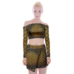 Bring Me The Horizon Cover Album Gold Off Shoulder Top with Skirt Set