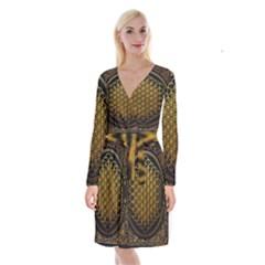 Bring Me The Horizon Cover Album Gold Long Sleeve Velvet Front Wrap Dress