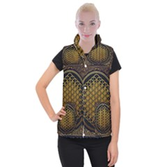 Bring Me The Horizon Cover Album Gold Women s Button Up Puffer Vest