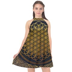 Bring Me The Horizon Cover Album Gold Halter Neckline Chiffon Dress