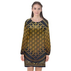 Bring Me The Horizon Cover Album Gold Long Sleeve Chiffon Shift Dress