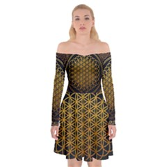 Bring Me The Horizon Cover Album Gold Off Shoulder Skater Dress