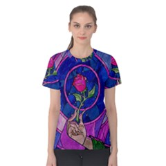 Enchanted Rose Stained Glass Women s Cotton Tee