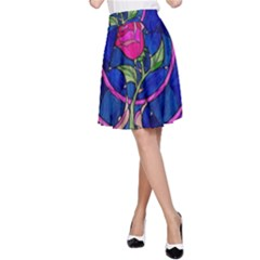 Enchanted Rose Stained Glass A-Line Skirt