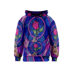 Enchanted Rose Stained Glass Kids  Zipper Hoodie