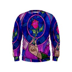 Enchanted Rose Stained Glass Kids  Sweatshirt