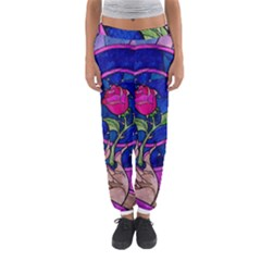 Enchanted Rose Stained Glass Women s Jogger Sweatpants