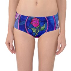 Enchanted Rose Stained Glass Mid-Waist Bikini Bottoms