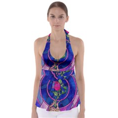 Enchanted Rose Stained Glass Babydoll Tankini Top