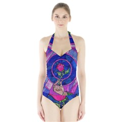 Enchanted Rose Stained Glass Halter Swimsuit