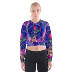 Enchanted Rose Stained Glass Cropped Sweatshirt