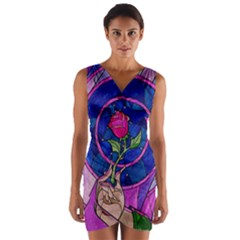 Enchanted Rose Stained Glass Wrap Front Bodycon Dress